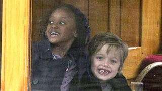 Shiloh, 5, and Zahara Jolie-Pitt, 7, Make Funny Faces in Amsterdam