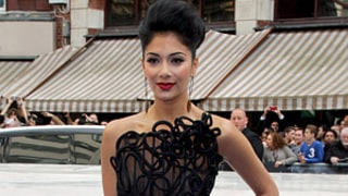 Ack! Nicole Scherzinger Nearly Has Wardrobe Malfunction With Thigh-High Slit Dress