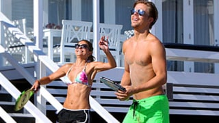Maria Menounos Plays Beach Tennis in Tiny String Bikini