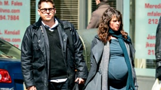 Felicity Jones Sports Huge Fake Baby Bump on Set With Jonah Hill