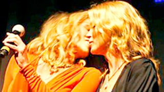 Sharon Stone and Kate Moss Share a Kiss at Brazilian Charity Event: Picture
