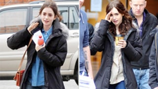 Lily Collins Steps Out Without Makeup on Set
