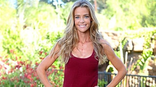 Denise Richards Looks Skinny and Happy Wearing Maroon Mini-Dress