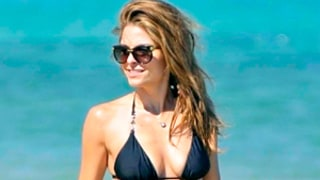 Maria Menounos Shows Off Toned Beach Body in Tiny Black Bikini During Greece Getaway