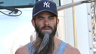 Chris Pine Wears Long Gray Beard on the Set of Stretch