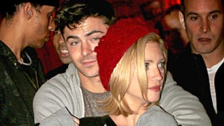 Zac Efron Gives Pal Brittany Snow a Big Hug at Los Angeles Haunted Hayride: Picture