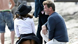 Salma Hayek Accidentally Flashes Butt, Dons Sexy Bra Top on Movie Set With Pierce Brosnan: Pictures