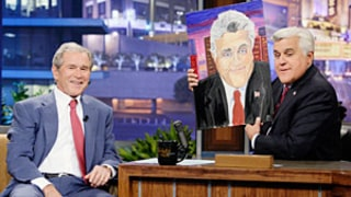 George Bush Shows Off Painting Hobby, Shares Jay Leno Portrait