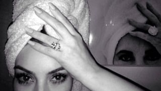 Kim Kardashian Mimics Elizabeth Taylor in Selfie With Ring, Towel on Her Head