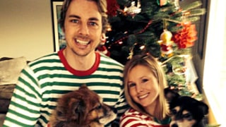 Kristen Bell, Husband Dax Shepard Wear Matching Christmas Onesie Pajamas With Dogs: Picture
