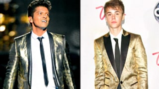 Bruno Mars at Super Bowl vs. Justin Bieber: Who Wore the Gold Blazer Best?