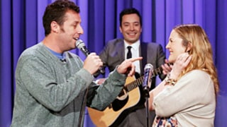 Adam Sandler, Pregnant Drew Barrymore Sing About Their Love on Tonight Show
