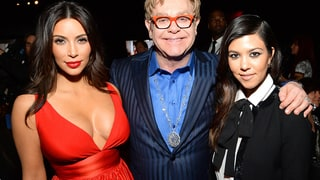 Kim Kardashian, Elton John and Kourtney Kardashian