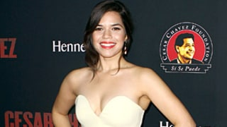 America Ferrera Looks Slim in Strapless Dress at Cesar Chavez Premiere