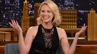 January Jones Goes Without Underwear In Sexy Black Jumpsuit on Tonight Show: Pictures