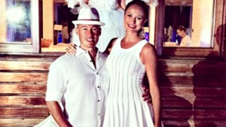 Stacy Keibler Glams Up Baby Bump In Tight White Dress at Wedding: Picture