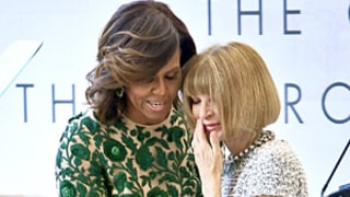 Michelle Obama, Anna Wintour Embrace at Costume Institute Ribbon Cutting Ahead of New York City's Met Ball