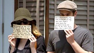 Emma Stone, Andrew Garfield Redirect Paparazzi Attention to Charities With Signs Over Their Faces