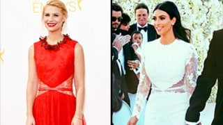 Claire Danes Wears Red Version of Kim Kardashian's Wedding Gown to the Emmys: See the Different Looks!