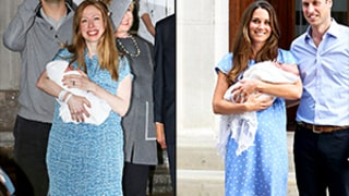 Chelsea Clinton Makes Post-Baby Debut With Newborn Daughter Charlotte in Blue Dress: Kate Middleton Comparison Photos