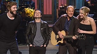 Jennifer Lawrence, Liam Hemsworth, Josh Hutcherson Sing With Woody Harrelson on Saturday Night Live: Watch Now!