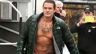 Orlando Bloom Goes Shirtless, Wears Fake Tattoos for Sexy Unlocked Movie Shoot: Photo