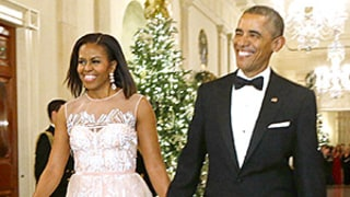 Michelle Obama Is the Belle of the Ball in Blush Dress: See Her Glam Gown!