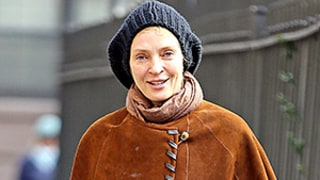 Uma Thurman Goes Without Makeup, Rocks the Cape Trend in NYC: See the Photos!