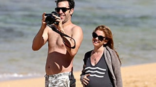 Pregnant Isla Fisher Shows Off Growing Baby Bump at Hawaiian Beach With Sacha Baron Cohen: Pictures