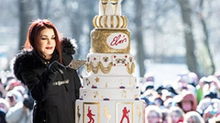 Priscilla, Lisa Marie Presley Celebrate Elvis' 80th Birthday at Graceland With Elaborate, Eight-Tier Cake -- See the Pics!