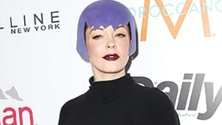 Rose McGowan Wore a Star Trek-Inspired, Purple Felt Hat on the Red Carpet: