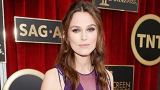 Pregnant Keira Knightley Turns Heads in Purple Lace at the 2015 SAG Awards, Jokes Her Waist Has
