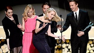 Naomi Watts Trips Over Emma Stone's Dress Onstage at SAG Awards 2015: GIFs, Video