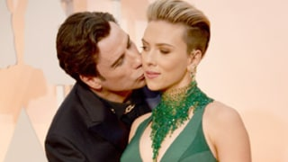 John Travolta Kisses Scarlett Johansson in Creepy Red Carpet Moment at Oscars 2015: See the Bizarre Picture