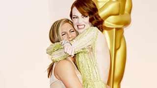 Jennifer Aniston Gets Handsy With Emma Stone on the 2015 Oscars Red Carpet: See the Hilarious Photos!