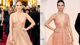 Jennifer Lopez, Robert Duvall's Wife Luciana Pedraza Wear Nearly Identical Gowns to Oscars 2015