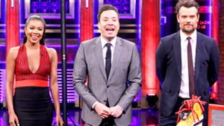 Josh Duhamel, Gabrielle Union, Jimmy Fallon Play Basketball With Ice Cream Cones, Sandwiches