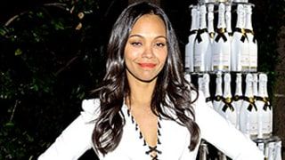 Zoe Saldana Highlights Teeny Post-Baby Body in Peplum Skirt Suit, Is Adorable With Husband Marco Perego