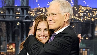 Julia Roberts Gives David Letterman One Last Late Show Kiss: See Their Very First!