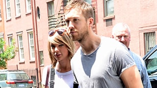 Taylor Swift, Calvin Harris Get Affectionate During NYC Lunch Date, Joined By Ed Sheeran: Photos