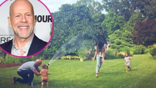 Bruce Willis Plays With Sprinklers in His Backyard With Youngest Two Daughters: Photo