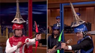 Mark Wahlberg, Jimmy Fallon Shoot Objects Off Each Other's Heads in Headshots: Watch!