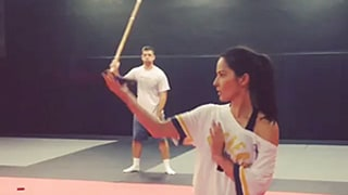 Olivia Munn Sword Fights Better Than Her Boyfriend Aaron Rodgers in Funny New Video