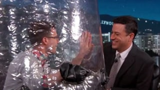 Andy Samberg Wears Bubble Boy Suit on Jimmy Kimmel Live to Stop Infecting Everyone With the Flu!