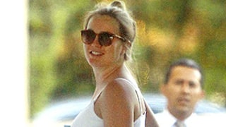 Pregnant Leighton Meester Cradles Her Fully Blossomed Baby Bump During Rare Sighting: Photo!