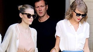 Jaime King Reveals Her Slim Post-Baby Body (and Flashes Her Bra!) in Nude Dress While Out With Taylor Swift: Photos!