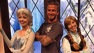 David and Brooklyn Beckham Pose With Frozen's Elsa and Anna in Disneyland at Harper's Request: Photos!