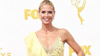 Heidi Klum Shows a Lot of Skin in Sheer Yellow Dress on Emmys 2015 Red Carpet
