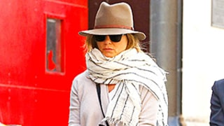 Jennifer Aniston Gives Us #FallGoals in This Cozy Scarf and Hat Look: Celeb Street Style Pics
