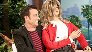 Justin Theroux Gets Life-Size Doll of Jennifer Aniston From Ellen DeGeneres: Watch